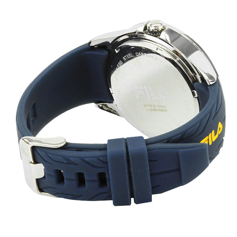 Picture of the back of FILA | 38-170-003 | Men's and Women's Blue and Stainless Steel Analog Watch | Date Tracker | Water Resistant