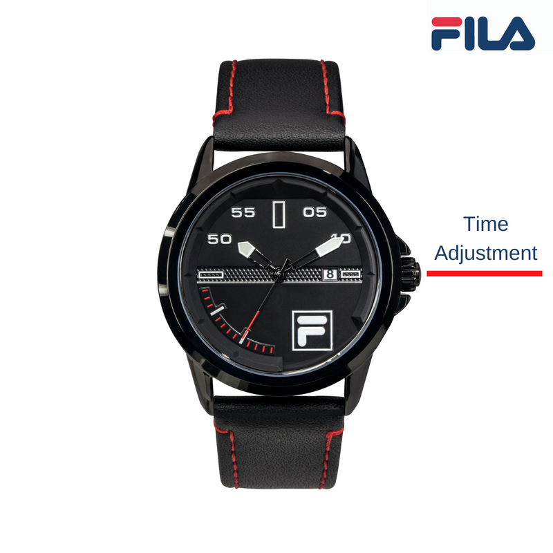Picture with button description and function of FILA Wrist watch | 38-170-101 | Men and Women's Blue and Stainless Steel Analog Watch | Water Resistant | Date Tracker