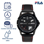 Picture with key features of FILA Watches | 38-170-101 | Men and Women's Blue and Stainless Steel Analog Watch | Water Resistant | Date Tracker | Leather Strap
