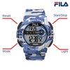 Picture with button description and function of FILA | 38-171-001 | Men's and Women's Camo Digital Watch | Date Tracker | Stopwatch | Alarm | Light Up Face