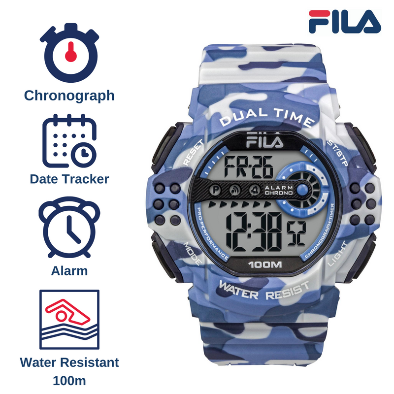 Picture with the key features of FILA | 38-171-001 | Men's and Women's Camo Digital Watch | Date Tracker | Stopwatch | Alarm | Light Up Face