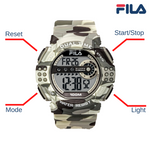 Picture with button description and function of FILA | 38-171-004 | Men's and Women's Blue Camo Digital Watch | Date Tracker | Stopwatch | Alarm | Light Up Face