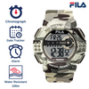 Picture with the key features of FILA | 38-171-004 | Men's and Women's Blue Camo Digital Watch | Date Tracker | Stopwatch | Alarm | Light Up Face