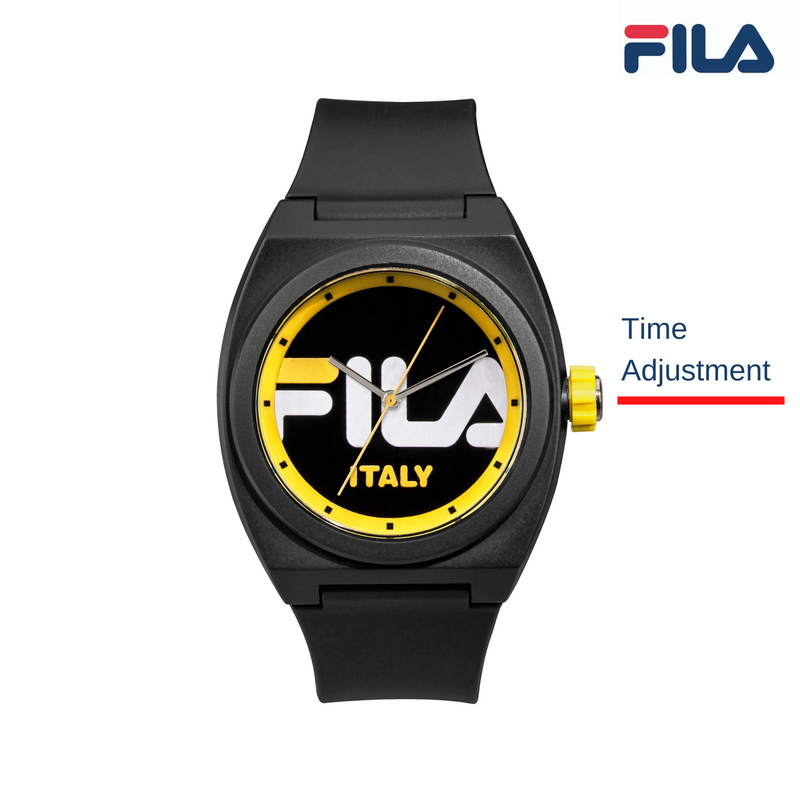 Picture with button description and function of FILA | 38-180-003 | Men's and Women's Black and Yellow Analog Watch | Water Resistant