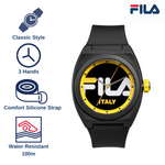 Picture with the key features of FILA | 38-180-003 | Men's and Women's Black and Yellow Analog Watch | Water Resistant