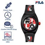 Picture with the key features of FILA | 38-180-102 | Men's and Women's Black, Red, and White Analog Watch | Water Resistant