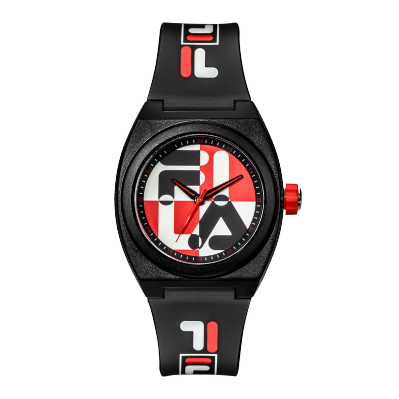 Picture of FILA | 38-180-102 | Men's and Women's Black, Red, and White Analog Watch | Water Resistant