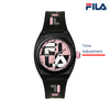Picture with button description and function of FILA | 38-180-104 | Men's and Women's Black and Pink Analog Watch | Water Resistant