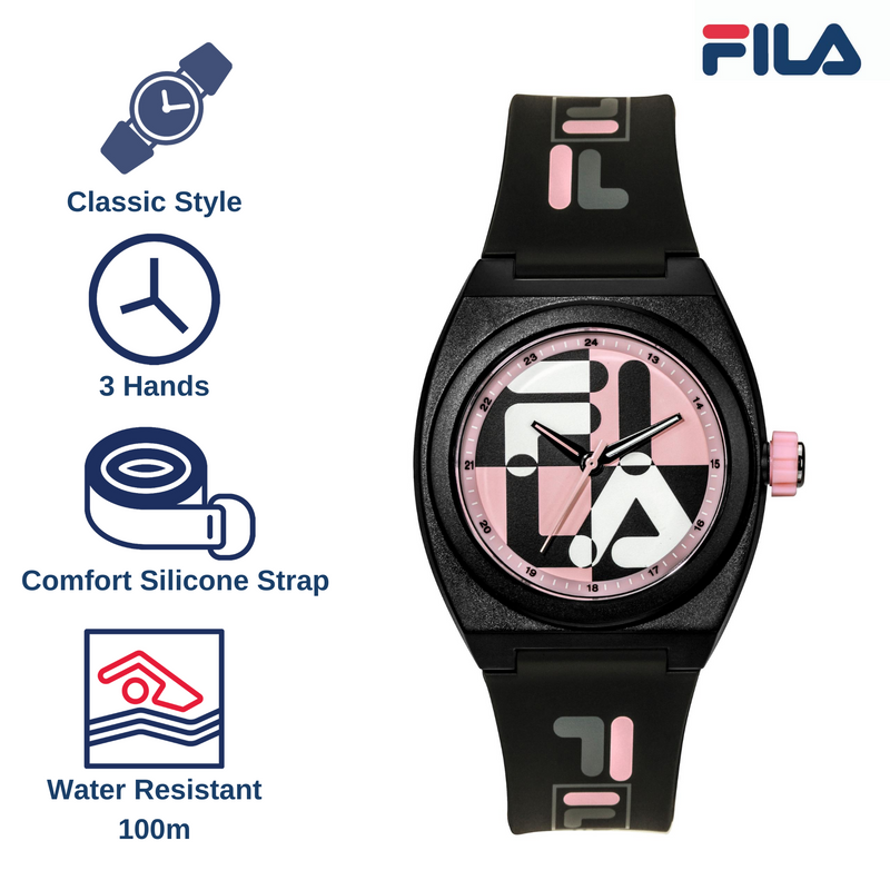 Picture with the key features of FILA | 38-180-104 | Men's and Women's Black and Pink Analog Watch | Water Resistant