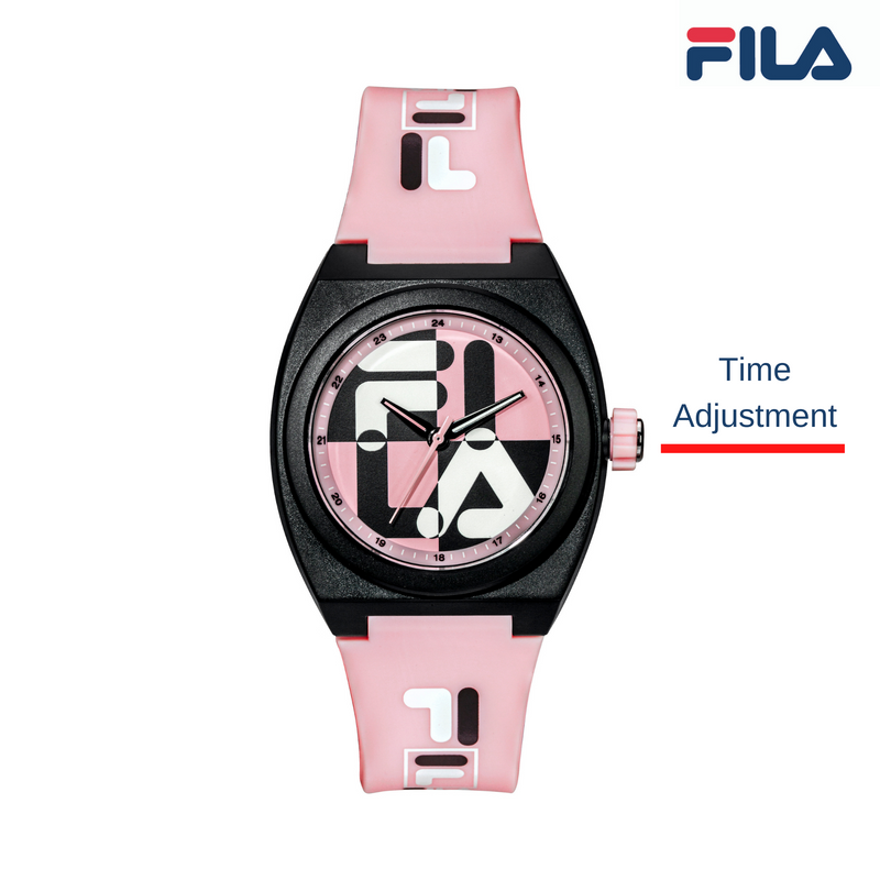 Picture describing the button and functionality of FILA Watch | 38-180-106 | Men's and Women's Pink and Black Analog Watch | Water Resistant