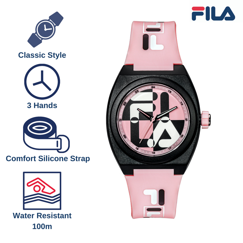 Picture with the key features of FILA | 38-180-106 | Men's and Women's Pink and Black Analog Watch | Water Resistant