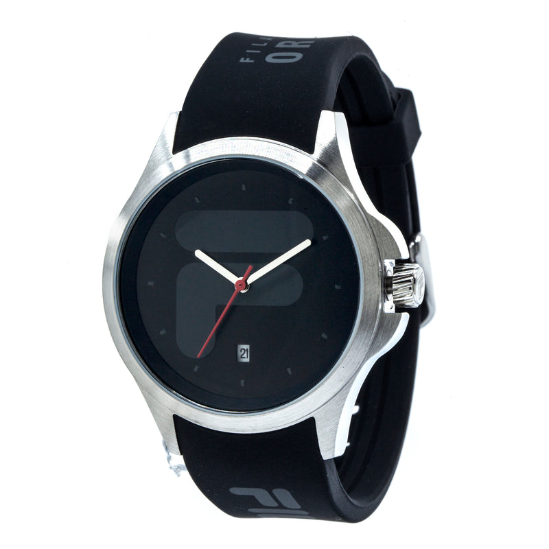 Picture of FILA | 38-181-001 | Men's and Women's Black and Stainless Steel Analog Watch | Date Tracker at 45 degree angle