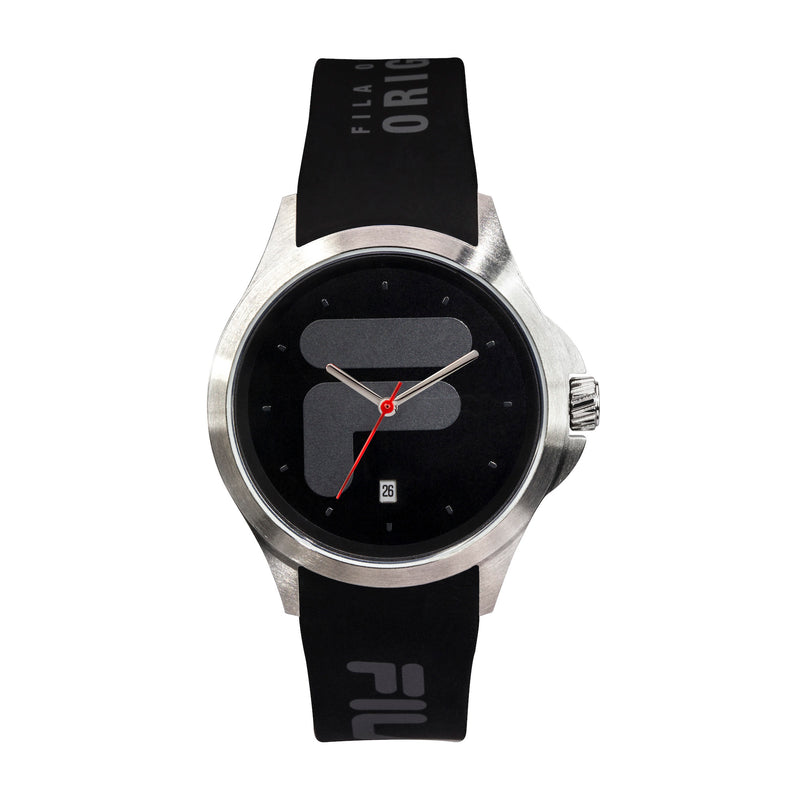 Picture of FILA | 38-181-001 | Men's and Women's Black and Stainless Steel Analog Watch | Date Tracker