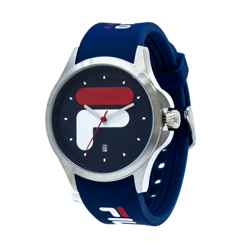 Picture of FILA | 38-181-002 | Men's and Women's Blue and Stainless Steel Analog Watch | Date Tracker at a 45 degree angle
