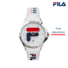 Picture identifying the button of FILA | 38-181-003 | Men's and Women's White Stainless Steel Analog Watch | Date Tracker