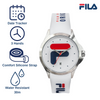 Picture identifying the key feature of FILA | 38-181-003 | Men's and Women's White and Stainless Steel Analog Watch | Date Tracker