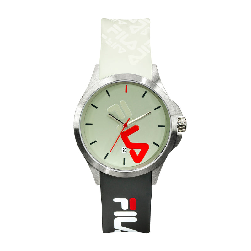 Picture of FILA | 38-181-006 | Men's and Women's White, Green, and Stainless Steel Analog Watch | Date Tracker