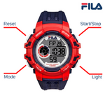 Picture with button description and function of FILA | 38-188-001 | Men's and Women's Blue and Red Digital Watch | Date Tracker | Stopwatch | Backlight | Water Resistant