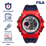 Picture with the key features of FILA | 38-188-001 | Men's and Women's Blue and Red Digital Watch | Date Tracker | Stopwatch | Backlight | Water Resistant