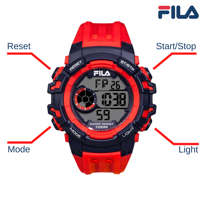 Picture with button description and function of FILA | 38-188-002 | Men's and Women's Red and Blue Digital Watch | Date Tracker | Stopwatch | Backlight | Water Resistant