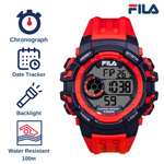 Picture with the key features of FILA | 38-188-002 | Men's and Women's Red and Blue Digital Watch | Date Tracker | Stopwatch | Backlight | Water Resistant
