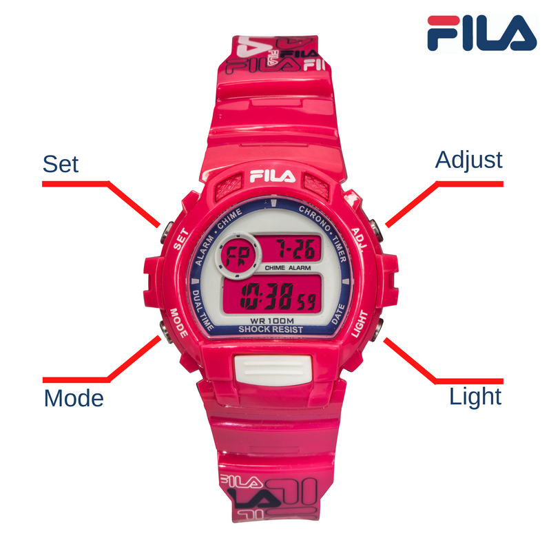 Picture with button description and function of FILA | 38-191-003 | Men's and Women's Hot Pink Digital Watch | Date Tracker | Stopwatch | Alarm | Backlight | Water Resistant