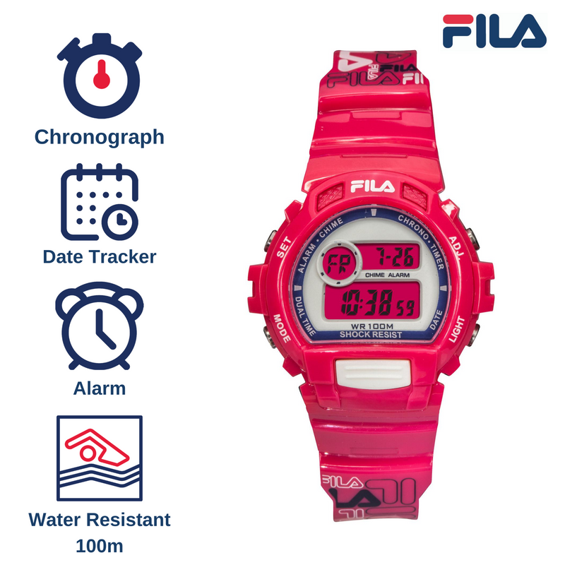 Picture with the key features of FILA | 38-191-003 | Men's and Women's Hot Pink Digital Watch | Date Tracker | Stopwatch | Alarm | Backlight | Water Resistant