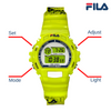 Picture with button description and function of FILA | 38-191-004 | Men's and Women's Bright Yellow Digital Watch | Date Tracker | Stopwatch | Alarm | Backlight | Water Resistant