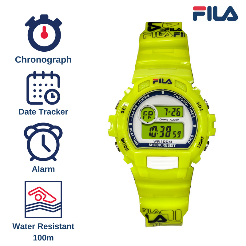 Picture with the key features of FILA | 38-191-004 | Men's and Women's Bright Yellow Digital Watch | Date Tracker | Stopwatch | Alarm | Backlight | Water Resistant