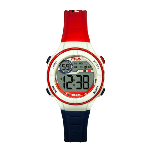 Picture of FILA | 38-205-003 | Kids Unisex Red, White, and Blue Digital Watch | Date Tracker | Alarm | Stopwatch | Light Up Face