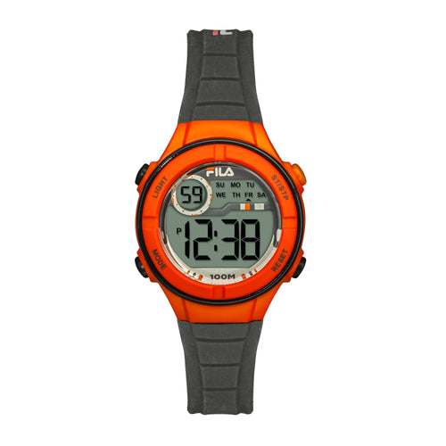 Picture of FILA | 38-205-006 | Kids Unisex Grey and Orange Digital Watch | Date Tracker | Alarm | Stopwatch | Light Up Face