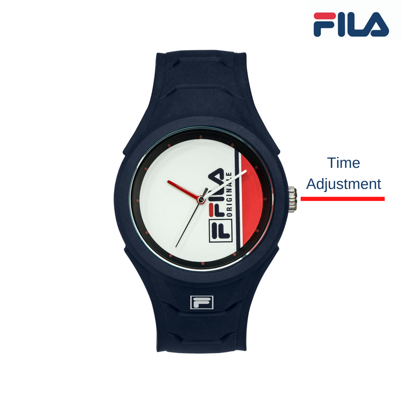 Picture with button description and function of FILA | 38-311-001 | Men's and Women's Blue and White Analog Watch | Water Resistant
