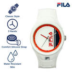 Picture with the key features of FILA | 38-311-002 | Men's and Women's White Analog Watch | Water Resistant
