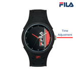 Picture with button description and function of FILA | 38-311-003 | Men's and Women's Black Analog Watch | Water Resistant