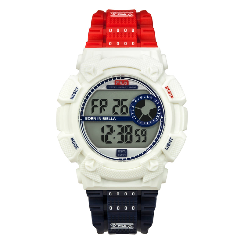 Picture of FILA | 38-312-003 | Men's and Women's Red, White, and Blue Digital Watch | Date Tracker | Stopwatch | Alarm | Light Up Face