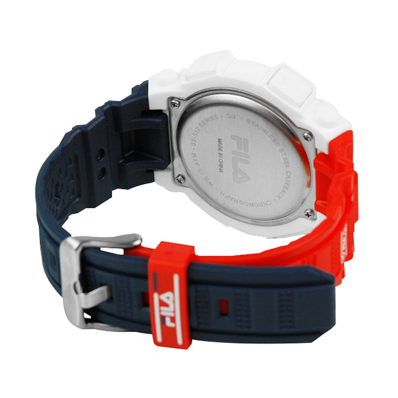Picture of the back of FILA | 38-312-003 | Men's and Women's Red, White, and Blue Digital Watch | Date Tracker | Stopwatch | Alarm | Light Up Face