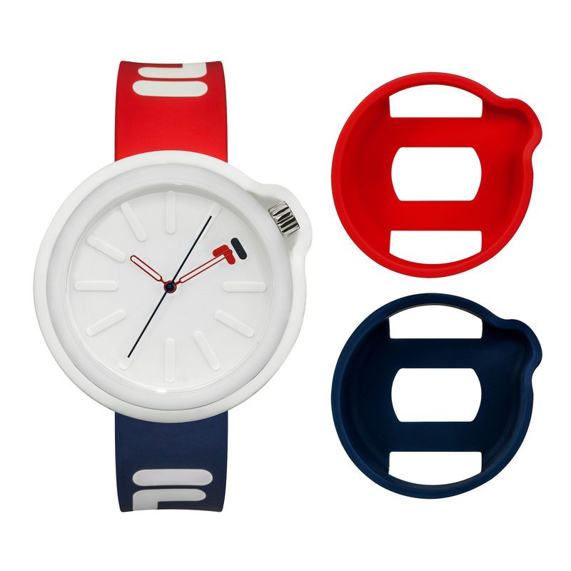 Picture of FILA | 38-315-001DBRD | Men's and Women's Red, White, and Blue Analog Watch | Water Resistant | Interchangeable Case showing the case options