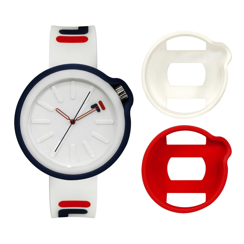 Picture of FILA | 38-315-003WHRD | Men's and Women's White and Blue Analog Watch | Water Resistant | Interchangeable Case showing the case options