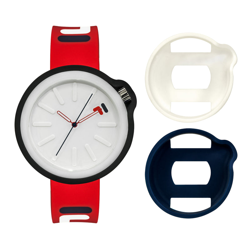 Picture of FILA | 38-315-005WHDB | Men's and Women's Red and Blue Analog Watch | Water Resistant | Interchangeable Case showing the case options