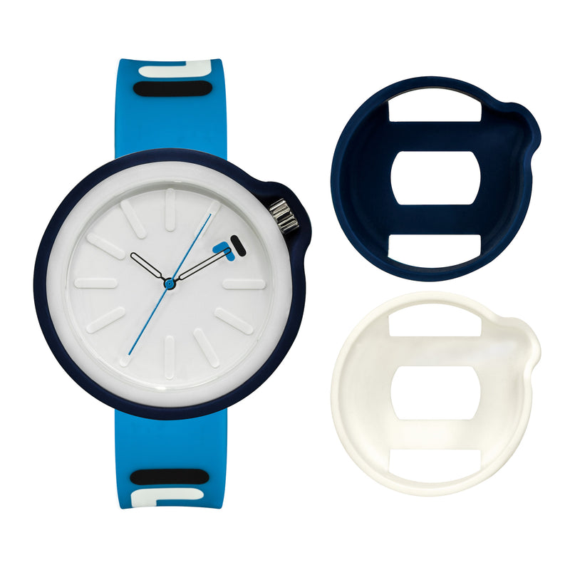 Picture of FILA | 38-315-007DBWH | Men's and Women's Blue Analog Watch | Water Resistant | Interchangeable Case showing the case options