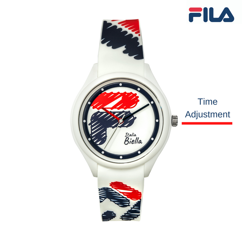 Picture describing the buttons and functionality of FILA Watch | 38-321-301 | Men's and Women's Red, White, and Blue Analog Watch | Water Resistant