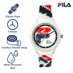Picture describing key features of FILA Watch | 38-321-301 | Men's and Women's Red, White, and Blue Analog Watch | Water Resistant