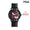 Picture describing the button and functionality of FILA Watch | 38-326-002 | Men's and Women's Black  Analog Watch | Water Resistant