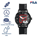 Picture describing the key features of FILA Watch | 38-326-002 | Men's and Women's Black Analog Watch | Water Resistant