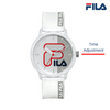 Picture describing the button and functionality of FILA Watch | 38-326-004 | Men's and Women's White Analog Watch | Water Resistant