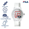 Picture describing the key features of FILA Watch | 38-326-004 | Men's and Women's White Analog Watch | Water Resistant