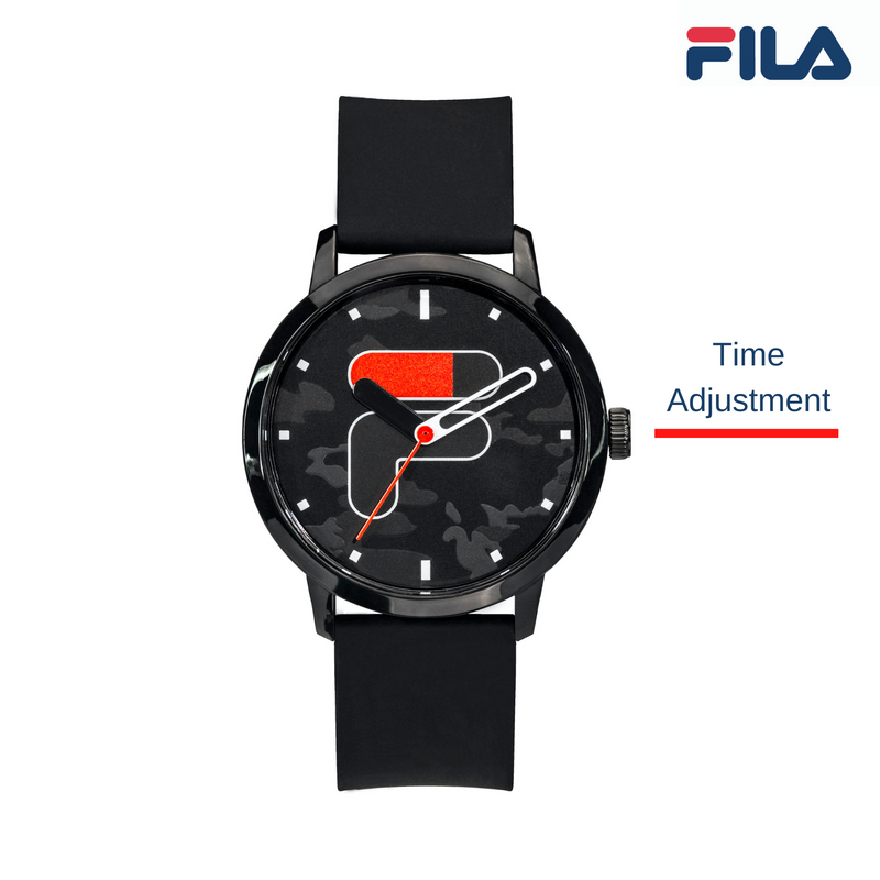Picture describing the button and functionality of FILA Watch | 38-326-102 | Men's and Women's Black Camo Analog Watch | Water Resistant