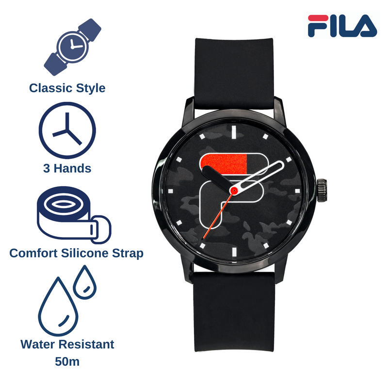 Picture describing the key features of FILA Watch | 38-326-102 | Men's and Women's Black Camo Analog Watch | Water Resistant