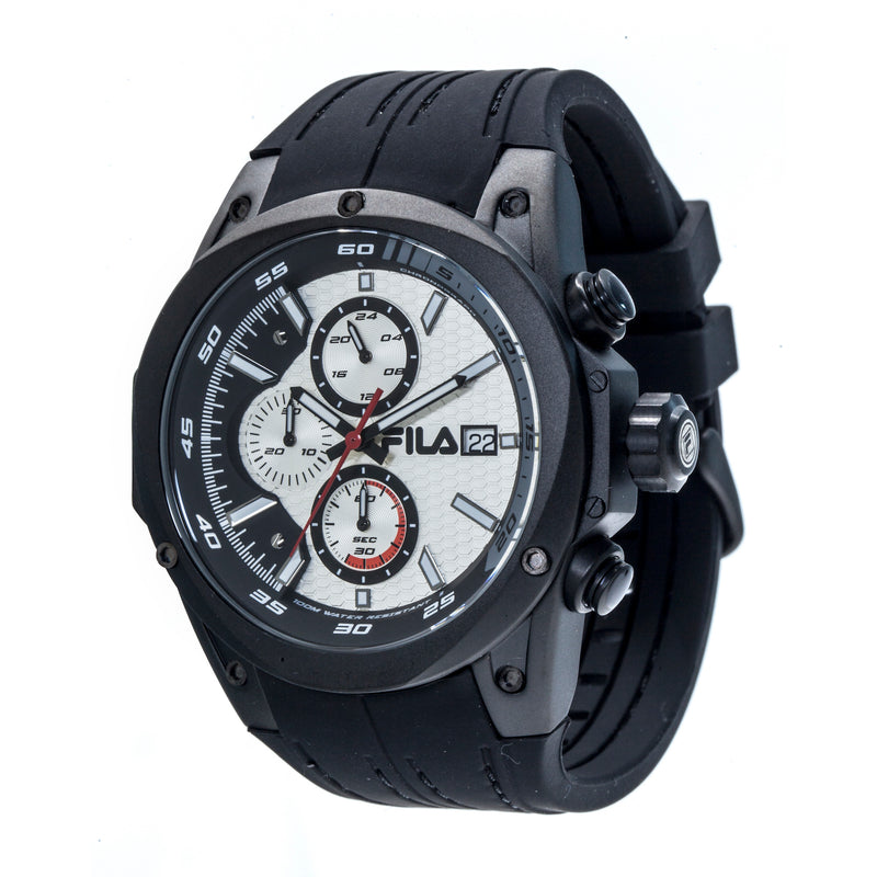 Picture of FILA | 38-823-006 | Men's and Women's Black and White Analog Watch | Water Resistant | Stopwatch at a 45 degree angle