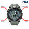 Picture with button description and function of FILA | 38-826-004 | Men's and Women's Grey Digital Watch | Water Resistant | Stopwatch | Date Tracker | Alarm